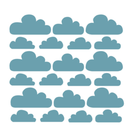Donker blauwe wolken muurstickers - 21 stuks