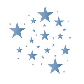 Sterren muursticker mix - donker blauw tinten -  33 stuks