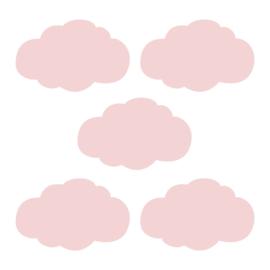 Roze wolk muursticker - 5 stuks - 14x8cm