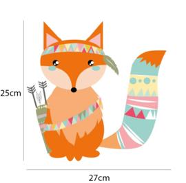 Indianen dieren - Vos muursticker - 25x27cm