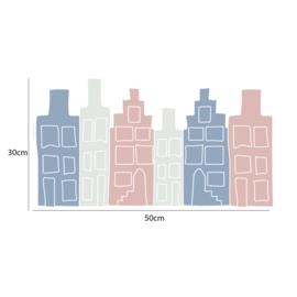 Huisjes muurstickers - 50x30cm (Diverse varianten)
