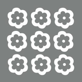 Witte bloemen muurstickers - 10 stuks - 8x8cm