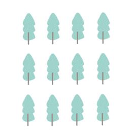 Indianen dieren - Mint groene bomen muurstickers 12st - 5x12cm