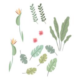 Tijger Tiggie - Bladeren en bloemen muursticker set