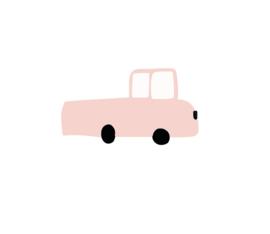 Pick up auto muursticker roze - 5 stuks - 13x7cm
