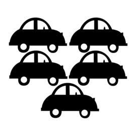 Zwarte Auto muursticker - 5 stuks - 16,5x10,5cm