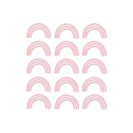 My little rainbow - Regenboog muurstickers roze 15st - 6x10cm