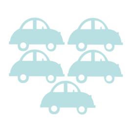 Licht blauwe auto muurstickers - 5 stuks - 16,5x10,5cm