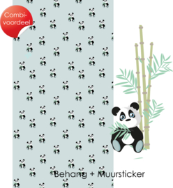 Combi Deal - Jungly Jungle - Panda - Behang + Muursticker