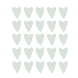 Mint groene hartjes muurstickers - 25 stuks - 5x4cm
