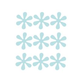 Blauwe bloemetjes muurstickers - 9 stuks - 6x6cm