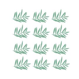 Jungly jungle - Takjes muurstickers donker groen 12st - 12x10cm