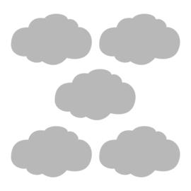 Grijze wolk muursticker -  5 stuks - 14x8cm