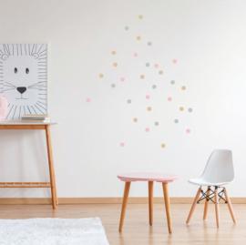 Confetti muursticker stipjes - roze/grijs/goud - 120 stuks - 2x2cm