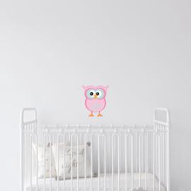 Roze uiltje muursticker - 15x20cm