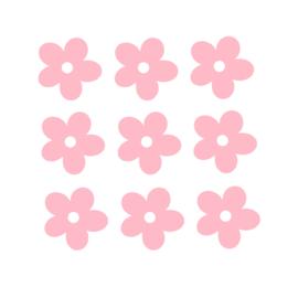 Licht roze bloemen muurstickers - 5x5cm - 10 stuks