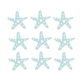 Fishie fishies - Zeesterren muurstickers licht blauw - 3x3cm