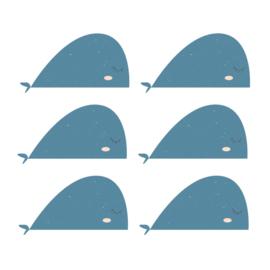 Fishie fishies - Walvissen muurstickers donker blauw 6st - 30x16cm