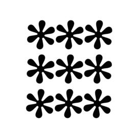 Zwarte bloemetjes muurstickers - 9 stuks - 6x6cm