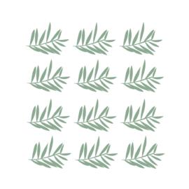 Jungly jungle - Takjes muurstickers leger groen 12st - 12x10cm