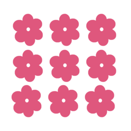 Roze bloemen muurstickers - 10 stuks - 6x6cm
