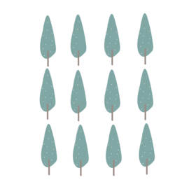 Indianen dieren - Blauw groene bomen muurstickers 12st - 5x16cm