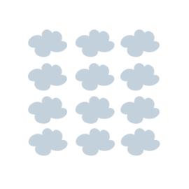 My little rainbow - Wolken muurstickers blauw 12st - 7x9cm