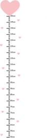 Meetlat muursticker roze - Hartjes