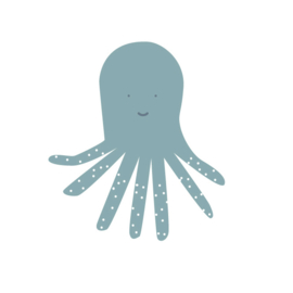 Fishie fishies - Octopus muurstickers donker groen - 15x14cm