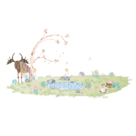 Diamond Forest Friends - eland bij vijver muursticker