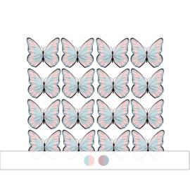 Vlinder muurstickers -  16 stuks - 6x5cm (Diverse varianten)