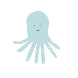 Fishie fishies - Octopus muurstickers licht blauw - 15x14cm