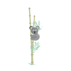Jungly jungle - Koala met bamboe muursticker - 15x58