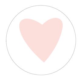 Muurcirkel Licht roze hartje - 3mm dik - 30cm