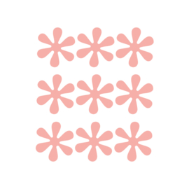 Oranje roze bloemetjes muurstickers - 9 stuks - 6x6cm