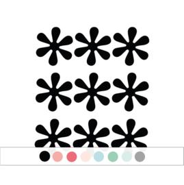 Bloemetjes muurstickers - 9 stuks - 6x6cm (Diverse varianten)