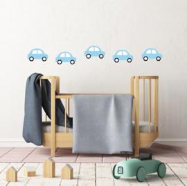 Licht blauwe auto muurstickers - 5 stuks - 18x11cm