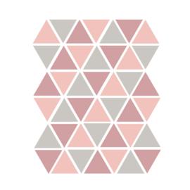 Driehoek muurstickers licht grijs en roze - 45 stuks - 4.5x4.5cm