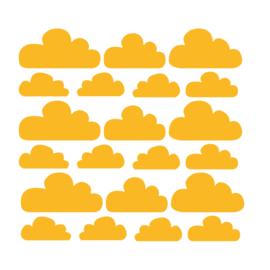 Oker gele wolken muurstickers - 21 stuks