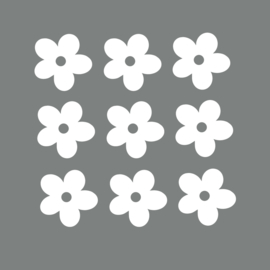 Witte bloemen muurstickers - 10 stuks - 5x5cm