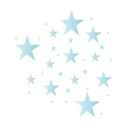 Sterren muursticker mix - licht blauw tinten -  33 stuks