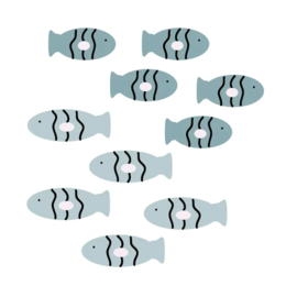 Fishie fishies - Visjes muurstickers set groen tinten 10st - 5x2cm
