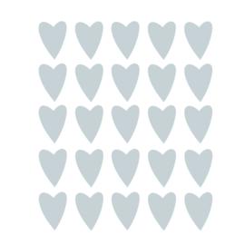 Grijs blauwe hartjes muurstickers - 25 stuks - 5x4cm
