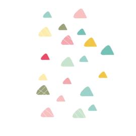 Indianen dieren - Gekleurde driehoek muurstickers 20st - 4x4cm+3x3cm