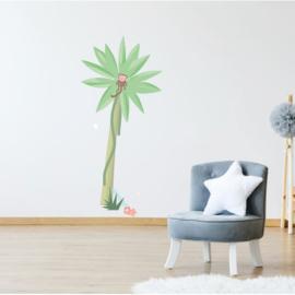 Jungly jungle - Palmboom met aapje muursticker - 50x118cm