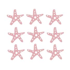 Fishie fishies - Zeesterren muurstickers donker roze - 3x3cm
