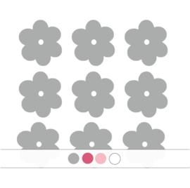 Bloemen muurstickers - 10 stuks - 6x6cm (Diverse varianten)