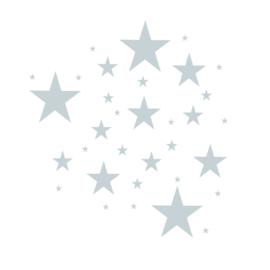 Sterren muursticker mix - Grijs blauw -  33 stuks