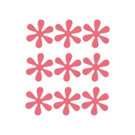 Rode bloemetjes muurstickers - 9 stuks - 6x6cm