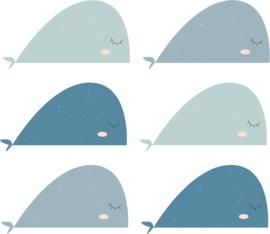 Fishie fishies - Walvissen muurstickers blauw tinten 6st - 30x16cm